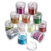 12 Colours Nail Art Tips Paillette Glitter Powder Decoration