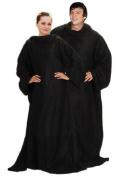 Black Soft Warm Cosy Snuggle TV Blanket Fleece Snug Sleeves Sleeved Rug