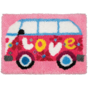 Love Camper Latch Hook Kit-48cm - 1.3cm x 70cm