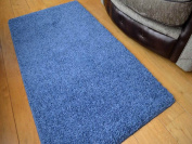 Denim Blue Machine Washable Thick Soft Shaggy Rug. Available in 4 Sizes.