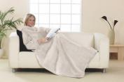 Snuggle Blanket Warm Cuddle Fleece with Sleeves Rug Wrap Cream