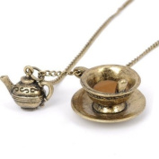 Vintage Enchanting Time for Tea Antique Bronze Tea Cup Necklace - Boxed & Gift Wrapped