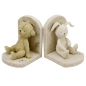 Button Corner Baby Resin Bookends Teddy Bear & Rabbit