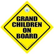 Grandchildren On Board Sign, Car Sign, Grand Children On Board Sign, Baby on Board Sign, Baby on Board Car Sign, Traditional Yellow Baby On Board Sign, Baby on Board, Grandchild On Board, Grandchildren On Board, Baby Car Sign