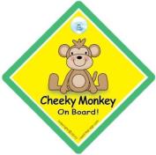 Cheeky Monkey On Board Car Sign, GREEN, Baby on Board Sign, Baby on Board, Baby Sign, Baby Car Sign, Decal, Bumper Sticker