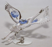 Blue. Crystals Silver Plated Stork