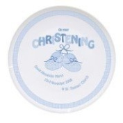 Personalised Booee 20cm Keepsake Plate On Your Christening Blue