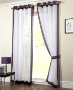 White Eyelet Panel Curtains With Purple Trimming Ringtop Mayfair 160cm x180cm