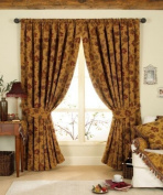 STUNNING GOLD/RED TAPESTRY CHENILLE CURTAINS 90 x 90