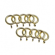 Universal Cafe Curtain Rod Rings, Brass, 10 Pack