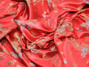 CHINESE ORIENTAL RED & GOLD DRAGON EMBROIDERED BROCADE SILKY SATIN DRESS CUSHIONS FABRIC SILKY SATIN TOUCH AND FEEL 110cm WIDTH & SOLD BY THE METRE