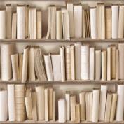 Ivory Cream / Brown - J43027 - Photo Bookcase Bookshelf Library - Muriva Wallpaper
