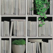 Books & Plants - J40607 - Photo Bookcase Bookshelf Library - Muriva Wallpaper