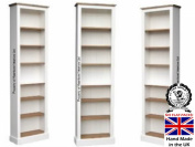 100% Solid Wood Bookcase, 2.1m Tall Narrow White Painted & Waxed Bookshelves, DVD/CD Unit, Adjustable Display Shelving Unit. No flat packs, No assembly
