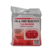 100 Clear 120 Micron CD / DVD Sleeves