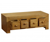 Homescapes - Dakota - DVD Trunk Coffee Table with Drawers - Oak Finish - 100% Solid Mango Hard Wood - ( No Veneer ) Hand Crafted Furniture