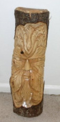 Hand Carved Wooden Green Man of the Woods from Tree Trunk - Approx. 50cm Tall Wall Art Hanging Plaque Crafted in Bali, Indonesia