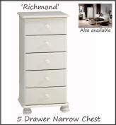 Pine Richmond Five Drawer Narrow Chest, Bedroom, Storage Unit - White