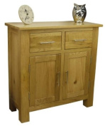 SOLID OAKLAND CHUNKY OAK SIDEBOARD COMPACT / SMALL 2 DOOR 2 DRAWER CUPBOARD DRESSER *SOLID WOOD.