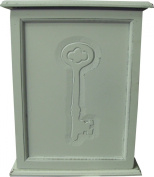 Home Furnishings Handcrafted White Wooden Painted Wall Key Cabinet with Indented Key Pattern 27cm 1208