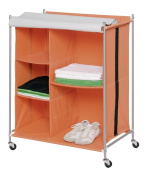 Wenko 4400101100 Wardrobe Rio with 5 Compartments, 78 x 100 x 48.5 cm, Orange Grey
