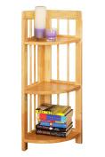 Premier Housewares 3-Tier Rubberwood Folding Corner Shelf Unit, 97 x 30 x 30 cm