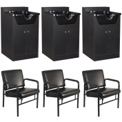 3 Salon Shampoo Cabinet and Chair Package EB-63BLK