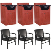 3 Salon Shampoo Cabinet and Chair Package EB-63CP