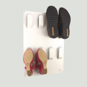 Designer Wall Mounted Shoe Storage Rack in White by The Metal House