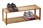 Premier Housewares 2-Tier Wood Shoe Rack, 30 x 79 x 26 cm, Natural