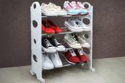 4 Tier White Free Standing Shoe Rack Stand Storage Organiser Shelf