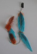 Unwigs Colourful Clip-in Feather Hair 41cm Extensions Single Piece E50001-blue/orange