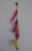 Unwigs Colourful Clip-in Feather Hair 41cm Extensions Single Piece Salon Quality E50001-pink/yellow