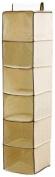 H & L Russel Sweater Organiser, 6 Pocket, Creme with Caramel Trim, 30 x 30 x 122 cm