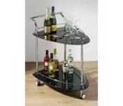 Premier Housewares 84 x 82 x 52 cm 2-Tier Serving Trolley with Black Glass Shelves and Chrome Frame, Triangle Shaped
