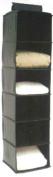 H & L Russel Sweater Organiser, Black Leatherette, 30 x 30 x 122 cm