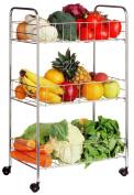 Premier Housewares 3-Tier Kitchen Trolley, Chrome