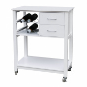 Premier Housewares Kitchen Trolley with White Veneer Finish, 86 x 70 x 40 cm