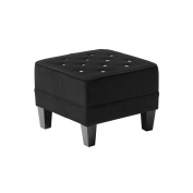 Premier Housewares 39 x 48 x 48 cm Velvet Chesterfield Diamante Footstool, Black