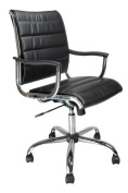 Eliza Tinsley Leather Effect Designer Armchair With Chrome Base - Black