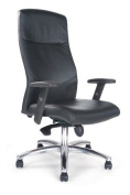 High back leather faced synchro executive armchair with chrome base - black