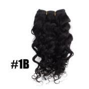 Yesurprise 25cm #1B 50g Curly Deep Wave Real Human Weave Hair Extensions Hair Salon Beauty in Fashion