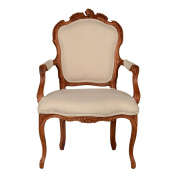 Premier Housewares 92 x 61 x 72 cm Valentina Solid Wood Armchair, Cream