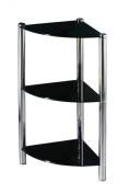 Premier Housewares 3 Tier Corner Shelf Unit with Black Glass Shelves and Chrome Frame, 70 x 30 x 30 cm