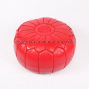 Moroccan Leather Pouffe / Footstool in Red