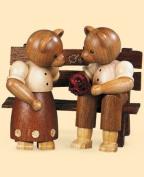 Bears, couple, on garden bench, height 8 cm / 3 inch, original Erzgebirge by Mueller Seiffen