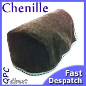 Pair of Luxury MOCHA Brown CHENILLE Chair Arm Cover/Protector with lace trim, arm cap