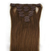 """15"""" (Col 8). Light blond Brown Full Head 7 PCS Clip in Remy 100% Human Hair Extensions. 18""""20""""22""""all colours 70g Weight"""