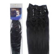 50cm JET BLACK (Col 1). Full Head Clip in Human Hair Extensions. High quality Remy Hair!. 100g Weight