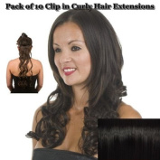 Black Curly 46cm Clip in Full Head Hair Extensions | Pack of 10 Clip in Extensions |